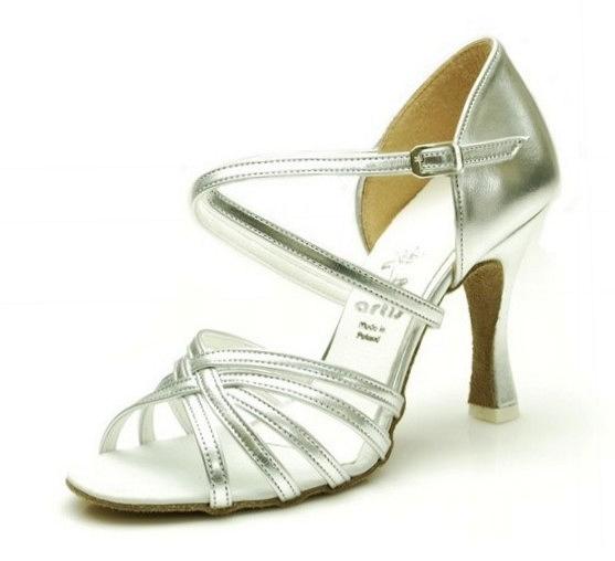 4b384e03abc71 Dámske tanečné topánky ARTIS - DL-2S-strieborna 7 cm Flare empty