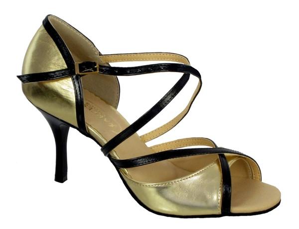 ab9e0bb6e8d Dámske tanečné topánky AKCES XGM - 101S čierno-zlaté empty
