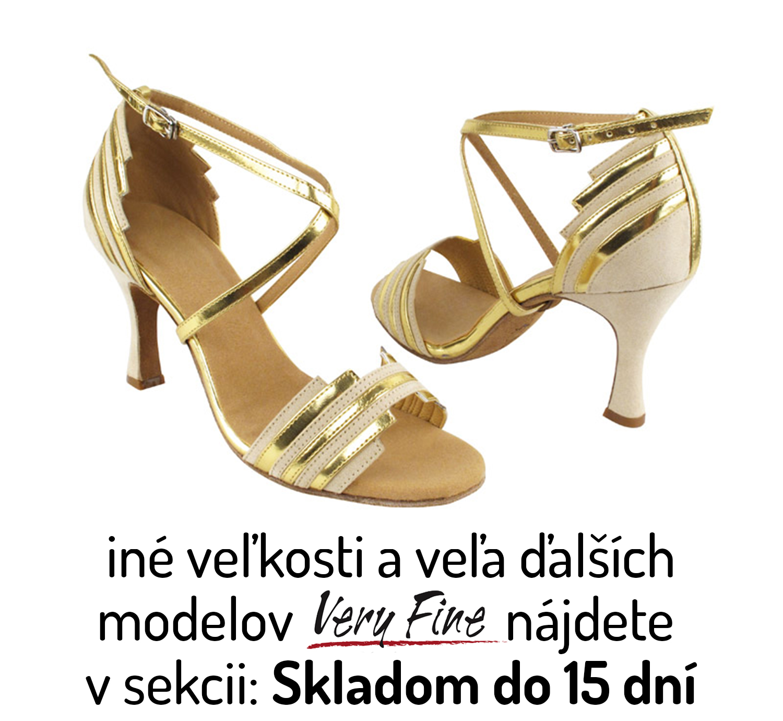 009fec16bbef Tanečné topánky Very Fine Shoes SERA1700 is zlaté 8 cm Flare ...