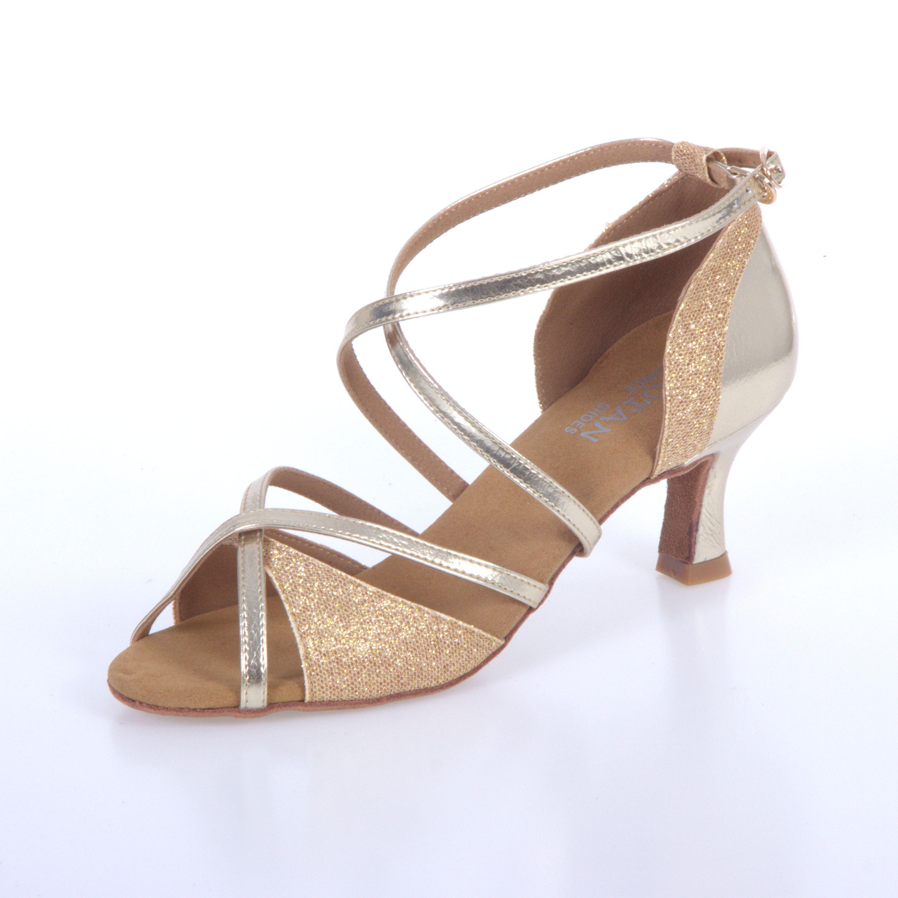 4e8982ecf171d Tanečné topánky Botan BL-49S zlatá 6,5 cm Flare empty